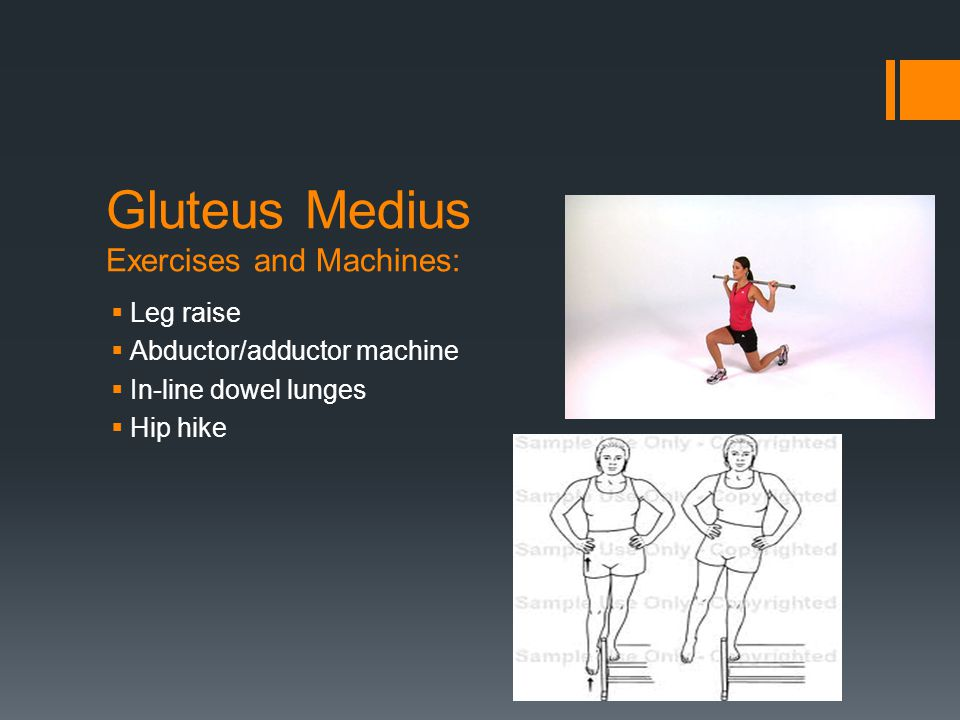 Gluteus Medius Exercises and Machines:  Leg raise  Abductor/adductor machine  In-line dowel lunges  Hip hike