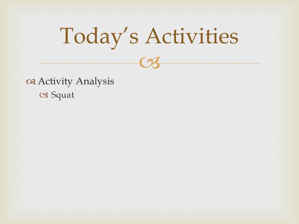   Activity Analysis  Squat Today's Activities
