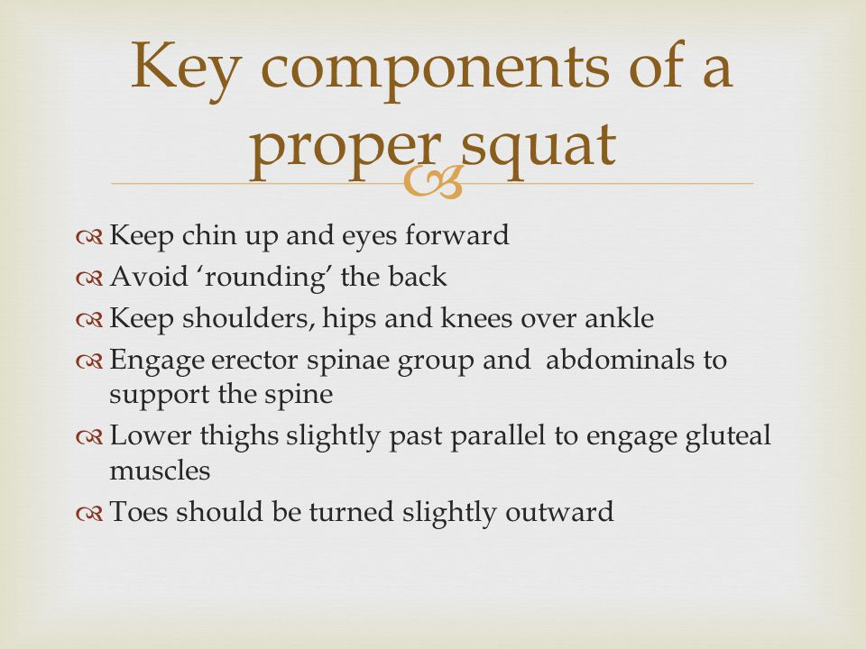   Keep chin up and eyes forward  Avoid 'rounding' the back  Keep shoulders, hips and knees over ankle  Engage erector spinae group and abdominals to support the spine  Lower thighs slightly past parallel to engage gluteal muscles  Toes should be turned slightly outward Key components of a proper squat