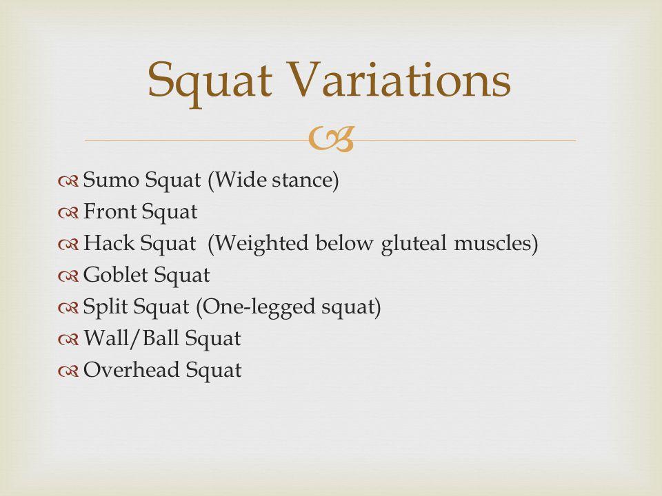   Sumo Squat (Wide stance)  Front Squat  Hack Squat (Weighted below gluteal muscles)  Goblet Squat  Split Squat (One-legged squat)  Wall/Ball Squat  Overhead Squat Squat Variations
