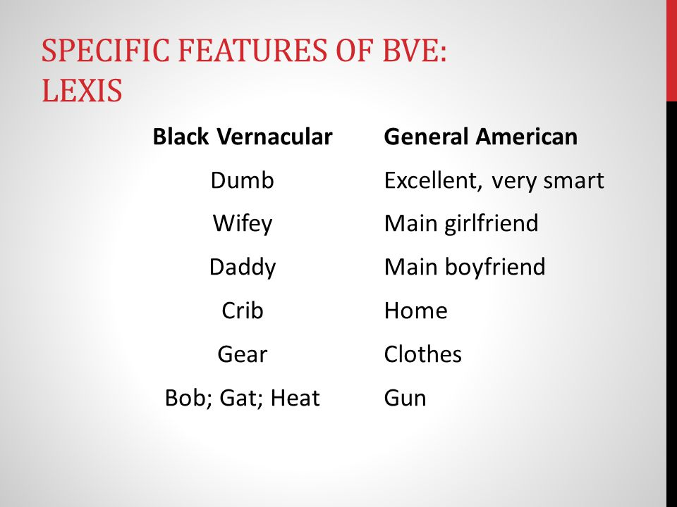 SPECIFIC FEATURES OF BVE: LEXIS Black Vernacular Dumb Wifey Daddy Crib Gear Bob; Gat; Heat General American Excellent, very smart Main girlfriend Main boyfriend Home Clothes Gun