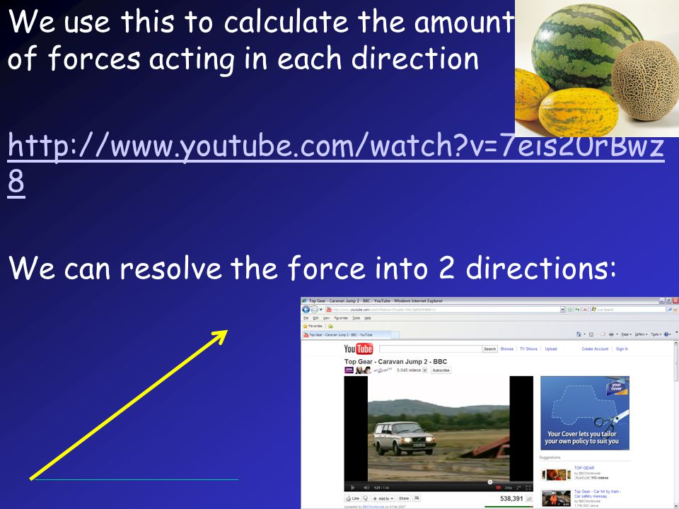 We use this to calculate the amount of forces acting in each direction http://www.youtube.com/watch v=7eis20rBwz 8 We can resolve the force into 2 directions: