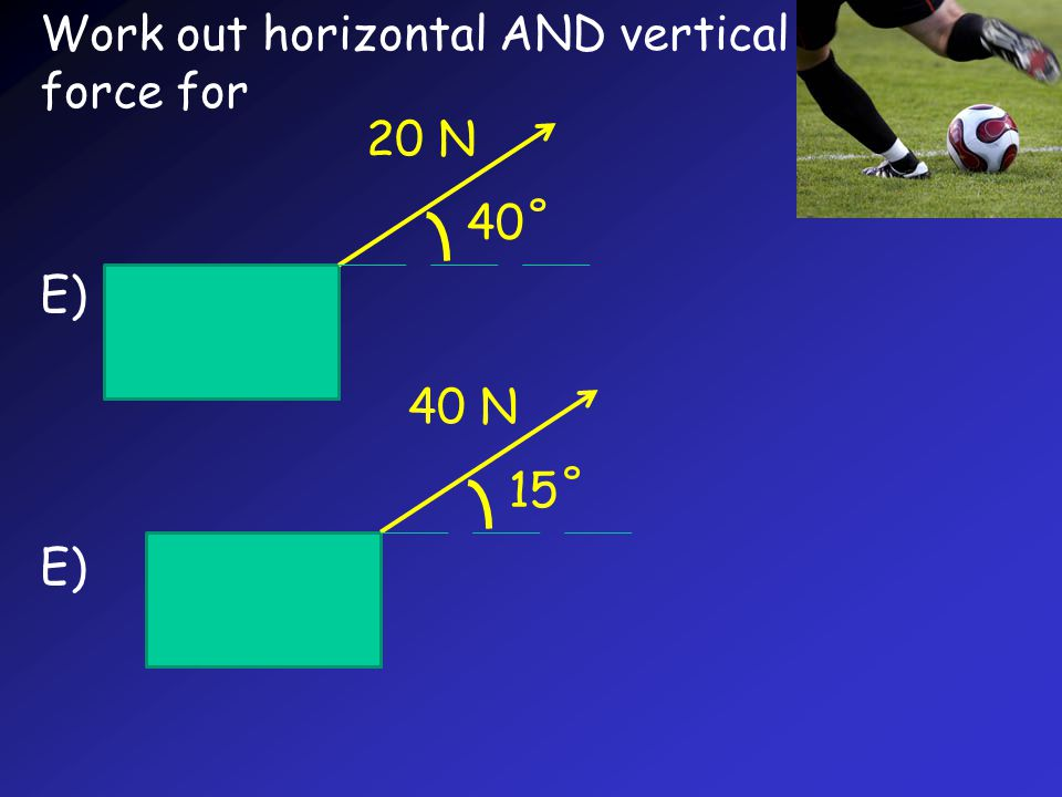 Work out horizontal AND vertical force for E) 20 N 40˚ 40 N 15˚