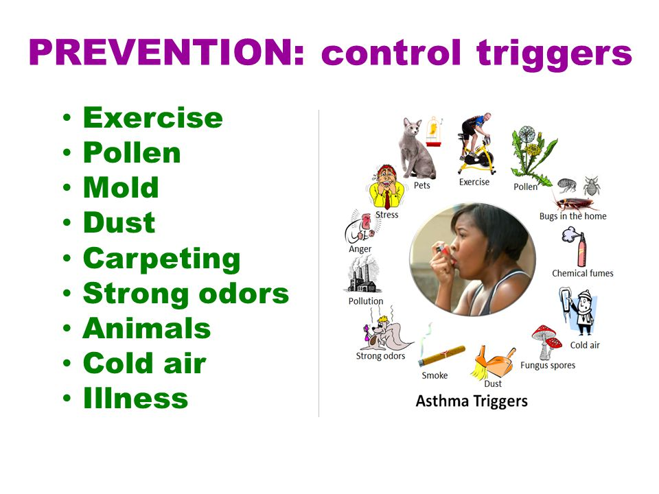Exercise Pollen Mold Dust Carpeting Strong odors Animals Cold air Illness PREVENTION: control triggers