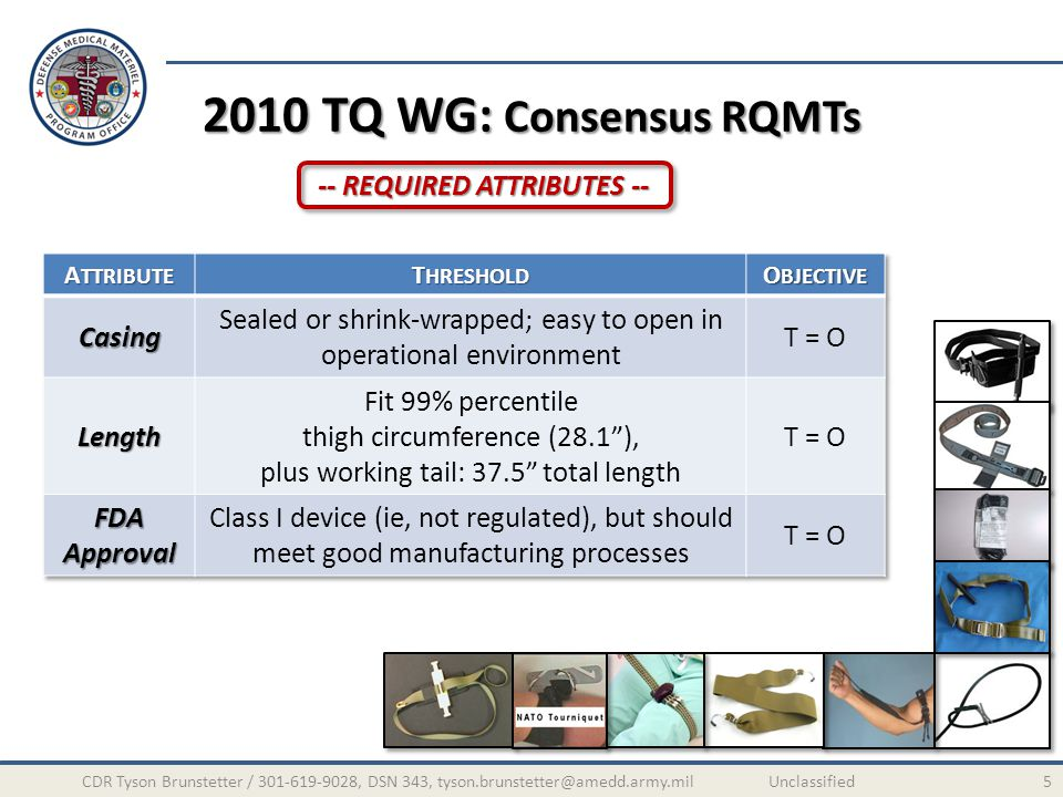 2010 TQ WG: Consensus RQMTs 5CDR Tyson Brunstetter / 301-619-9028, DSN 343, tyson.brunstetter@amedd.army.mil Unclassified -- REQUIRED ATTRIBUTES --