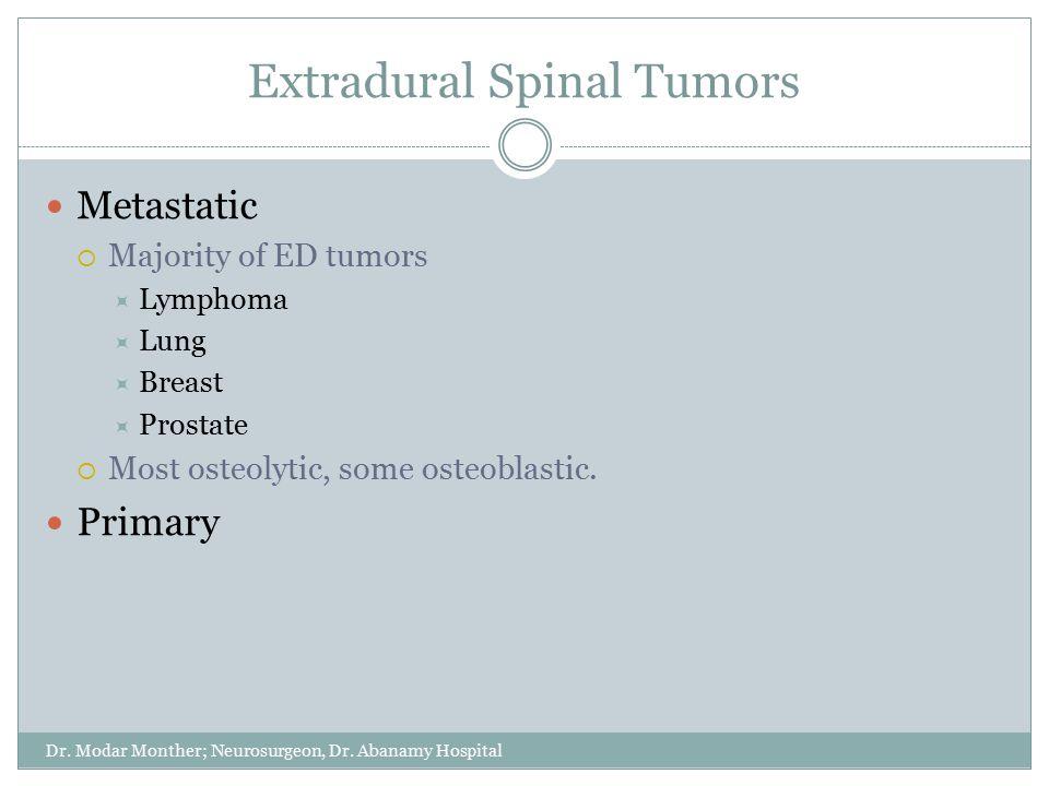 Extradural Spinal Tumors Dr. Modar Monther; Neurosurgeon, Dr. Abanamy Hospital Metastatic  Majority of ED tumors  Lymphoma  Lung  Breast  Prostat