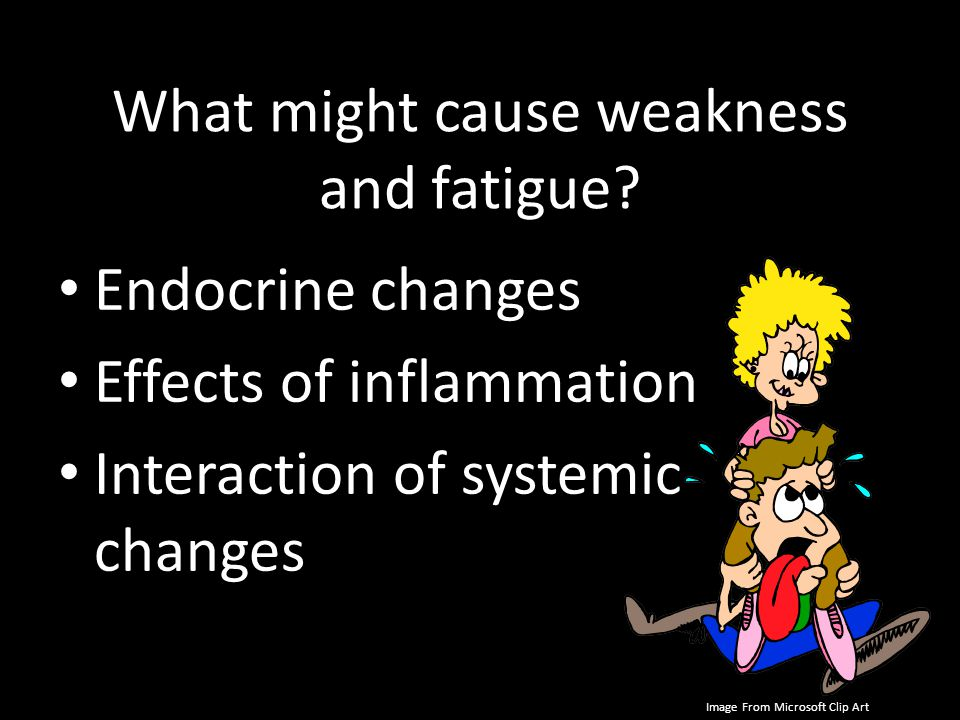What might cause weakness and fatigue? Endocrine changes Effects of inflammation Interaction of systemic changes Image From Microsoft Clip Art