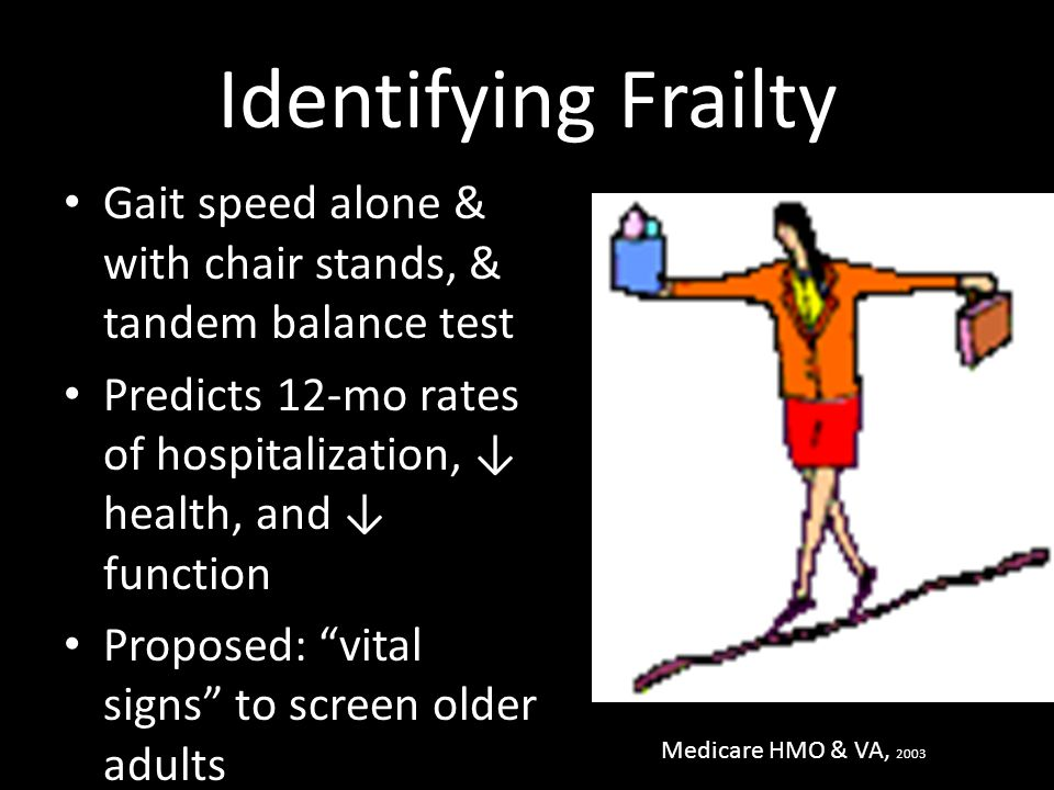 Identifying Frailty Gait speed alone & with chair stands, & tandem balance test Predicts 12-mo rates of hospitalization, ↓ health, and ↓ function Prop