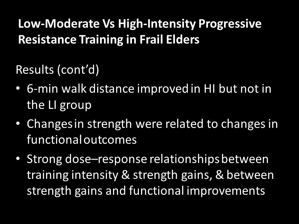 Low-Moderate Vs High-Intensity Progressive Resistance Training in Frail Elders Results (cont'd) 6-min walk distance improved in HI but not in the LI g