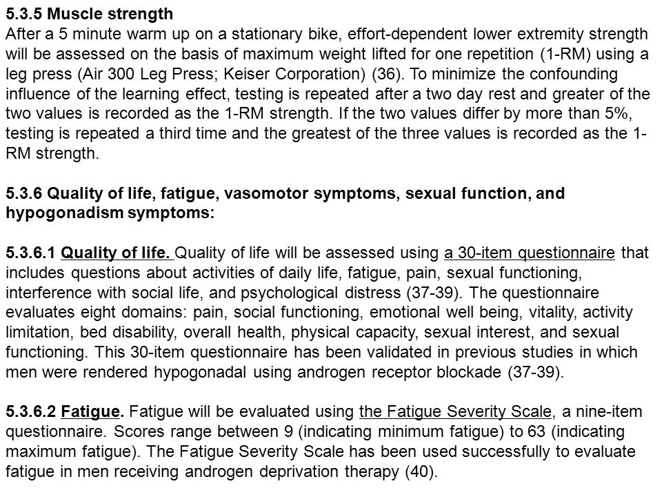 5.3.5 Muscle strength After a 5 minute warm up on a stationary bike, effort-dependent lower extremity strength will be assessed on the basis of maximum weight lifted for one repetition (1-RM) using a leg press (Air 300 Leg Press; Keiser Corporation) (36).