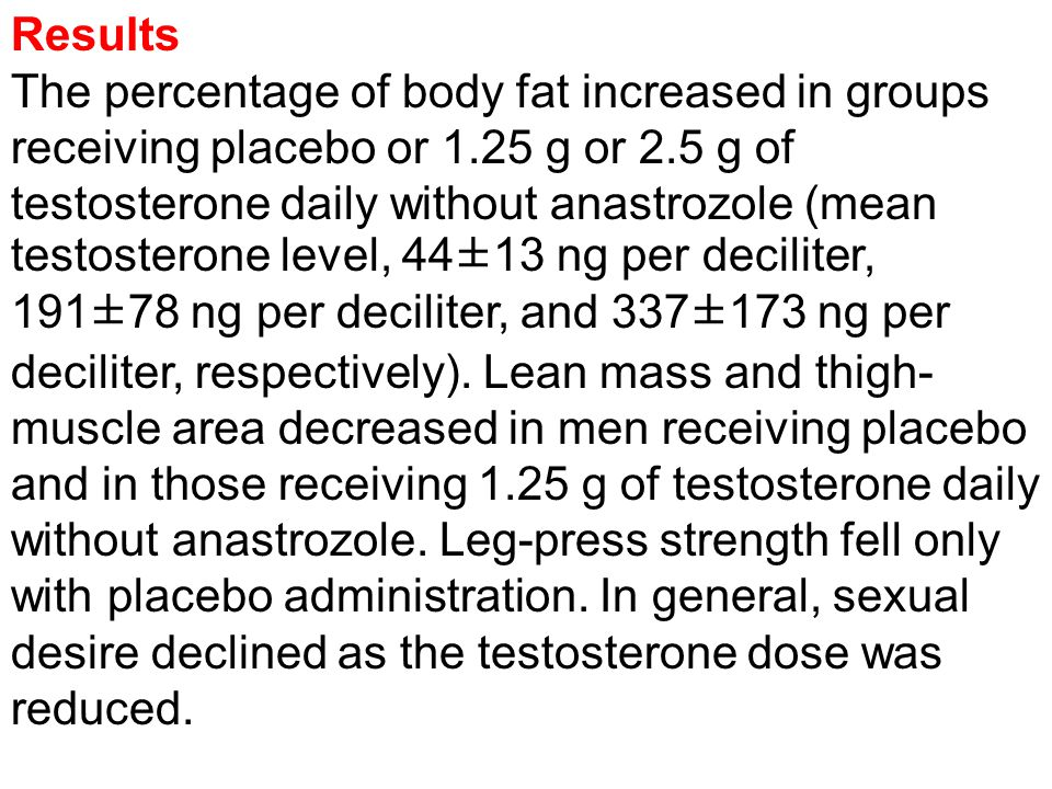 Results The percentage of body fat increased in groups receiving placebo or 1.25 g or 2.5 g of testosterone daily without anastrozole (mean testosterone level, 44±13 ng per deciliter, 191±78 ng per deciliter, and 337±173 ng per deciliter, respectively).