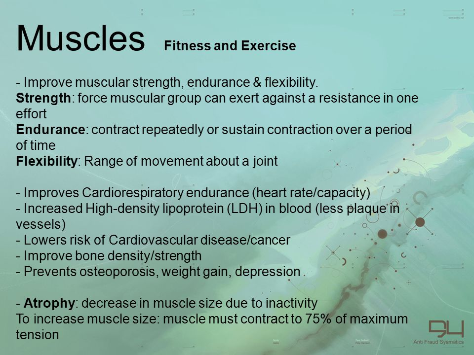 Muscles Fitness and Exercise - Improve muscular strength, endurance & flexibility.