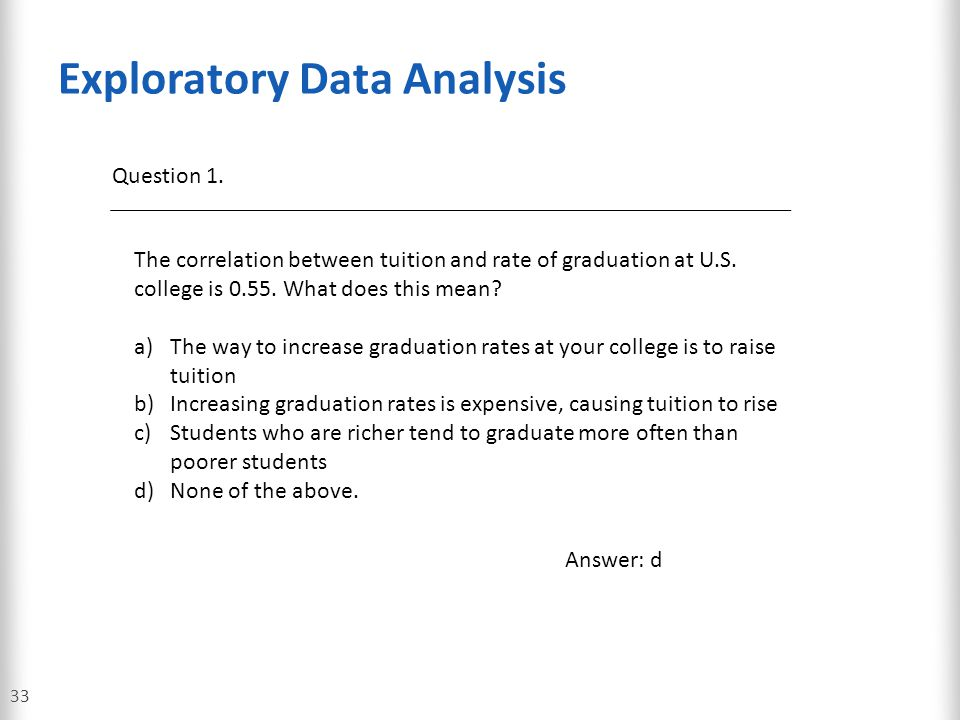 Exploratory Data Analysis 33 Question 1. The correlation between tuition and rate of graduation at U.S. college is 0.55. What does this mean? a)The wa