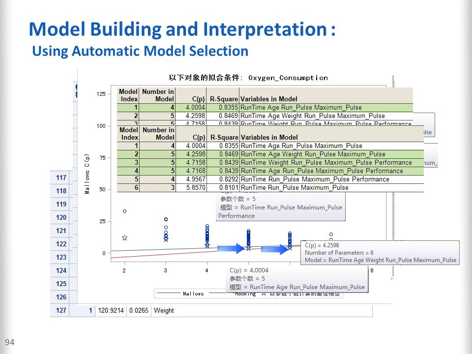 Model Building and Interpretation : Using Automatic Model Selection 94