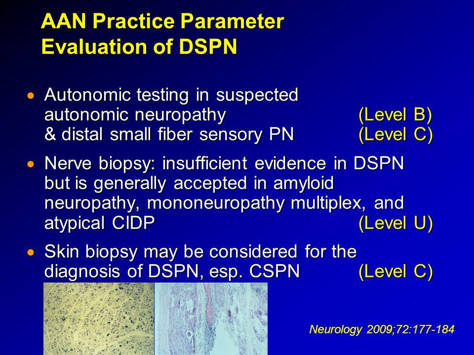 AAN Practice Parameter Evaluation of DSPN  Autonomic testing in suspected autonomic neuropathy (Level B) & distal small fiber sensory PN(Level C)  N