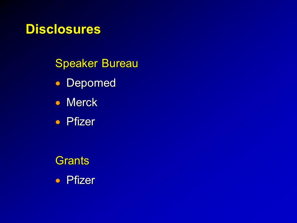 Disclosures Speaker Bureau  Depomed  Merck  Pfizer Grants