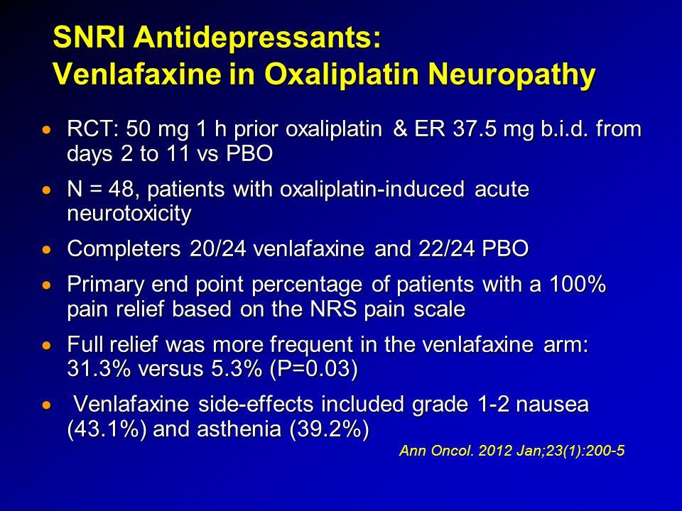 SNRI Antidepressants: Venlafaxine in Oxaliplatin Neuropathy  RCT: 50 mg 1 h prior oxaliplatin & ER 37.5 mg b.i.d. from days 2 to 11 vs PBO  N = 48,