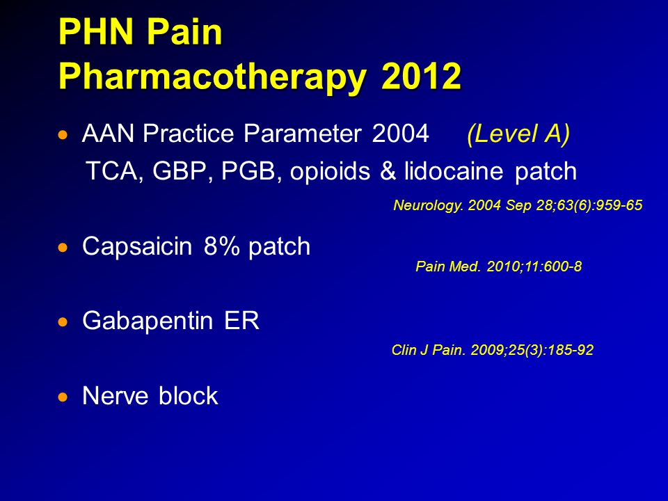 PHN Pain Pharmacotherapy 2012   AAN Practice Parameter 2004 (Level A) TCA, GBP, PGB, opioids & lidocaine patch   Capsaicin 8% patch   Gabapentin