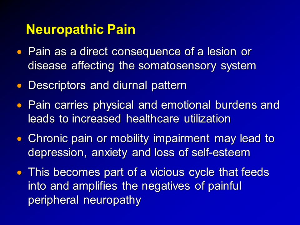 Neuropathic Pain  Pain as a direct consequence of a lesion or disease affecting the somatosensory system  Descriptors and diurnal pattern  Pain car