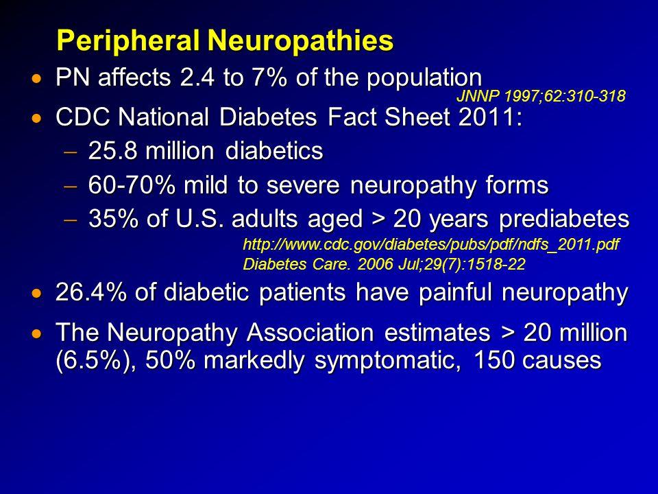 Peripheral Neuropathies  PN affects 2.4 to 7% of the population  CDC National Diabetes Fact Sheet 2011:  25.8 million diabetics  60-70% mild to se