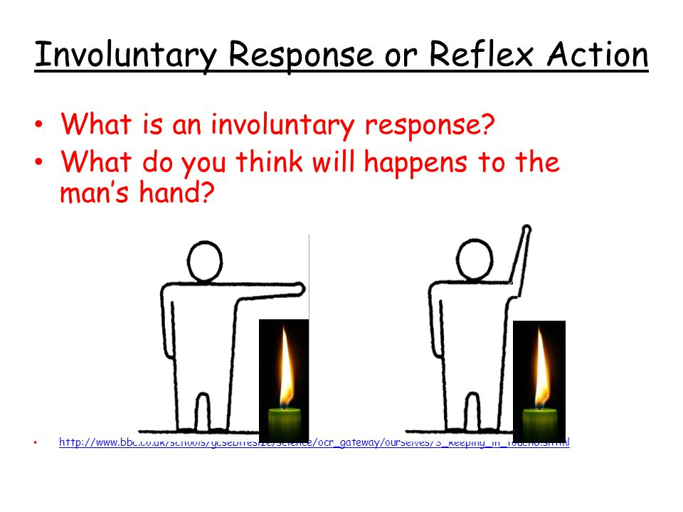 Involuntary Response or Reflex Action What is an involuntary response? What do you think will happens to the man's hand? http://www.bbc.co.uk/schools/