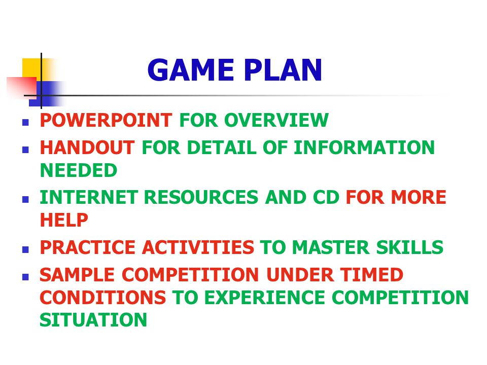 GAME PLAN POWERPOINT FOR OVERVIEW HANDOUT FOR DETAIL OF INFORMATION NEEDED INTERNET RESOURCES AND CD FOR MORE HELP PRACTICE ACTIVITIES TO MASTER SKILL