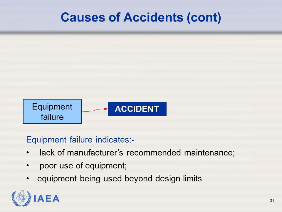 IAEA ACCIDENT Equipment failure Causes of Accidents (cont) Equipment failure indicates:- lack of manufacturer's recommended maintenance; poor use of e