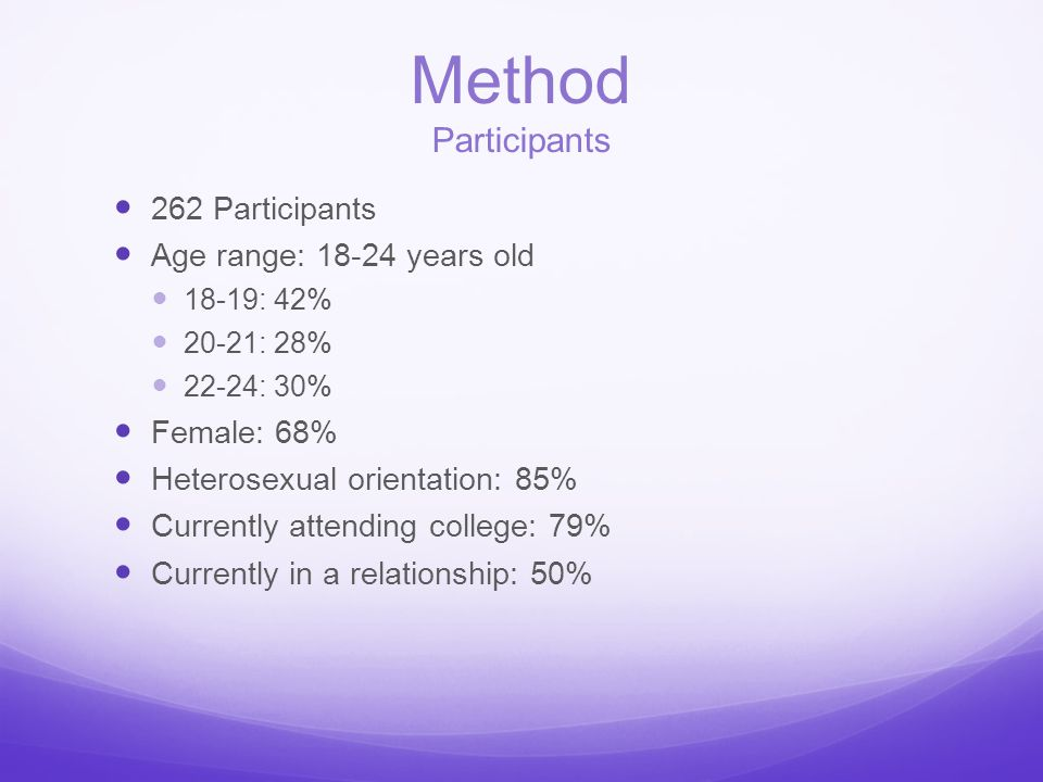 Method Participants 262 Participants Age range: 18-24 years old 18-19: 42% 20-21: 28% 22-24: 30% Female: 68% Heterosexual orientation: 85% Currently a