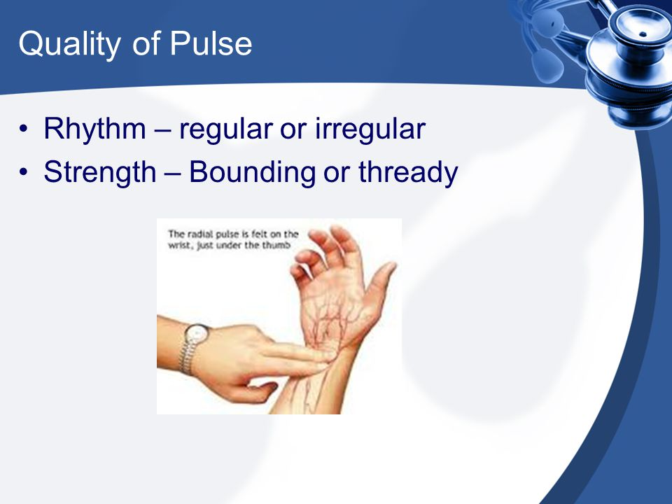 Quality of Pulse Rhythm – regular or irregular Strength – Bounding or thready