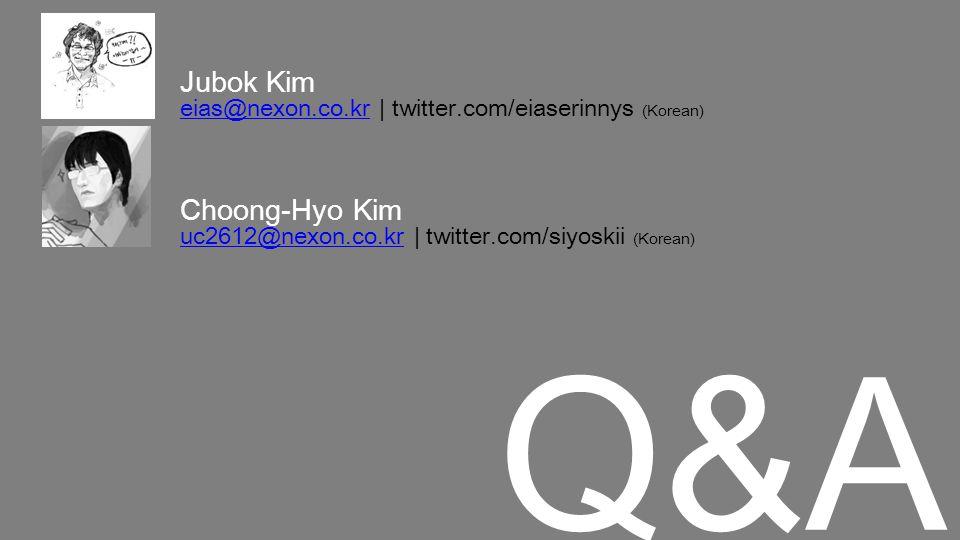 Q&AQ&A Jubok Kim eias@nexon.co.kreias@nexon.co.kr | twitter.com/eiaserinnys (Korean) Choong-Hyo Kim uc2612@nexon.co.kruc2612@nexon.co.kr | twitter.com/siyoskii (Korean)