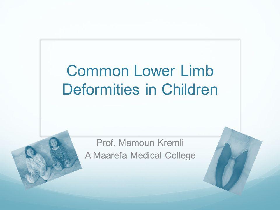 Objectives Angular deformities of LLs Bow legs Knock knees Rotational deformities of LLs In-toeing Ex-toeing Feet problems