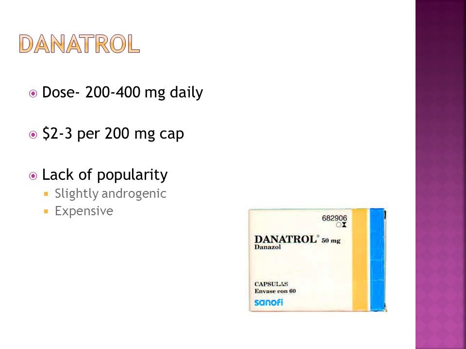  Dose- 200-400 mg daily  $2-3 per 200 mg cap  Lack of popularity  Slightly androgenic  Expensive
