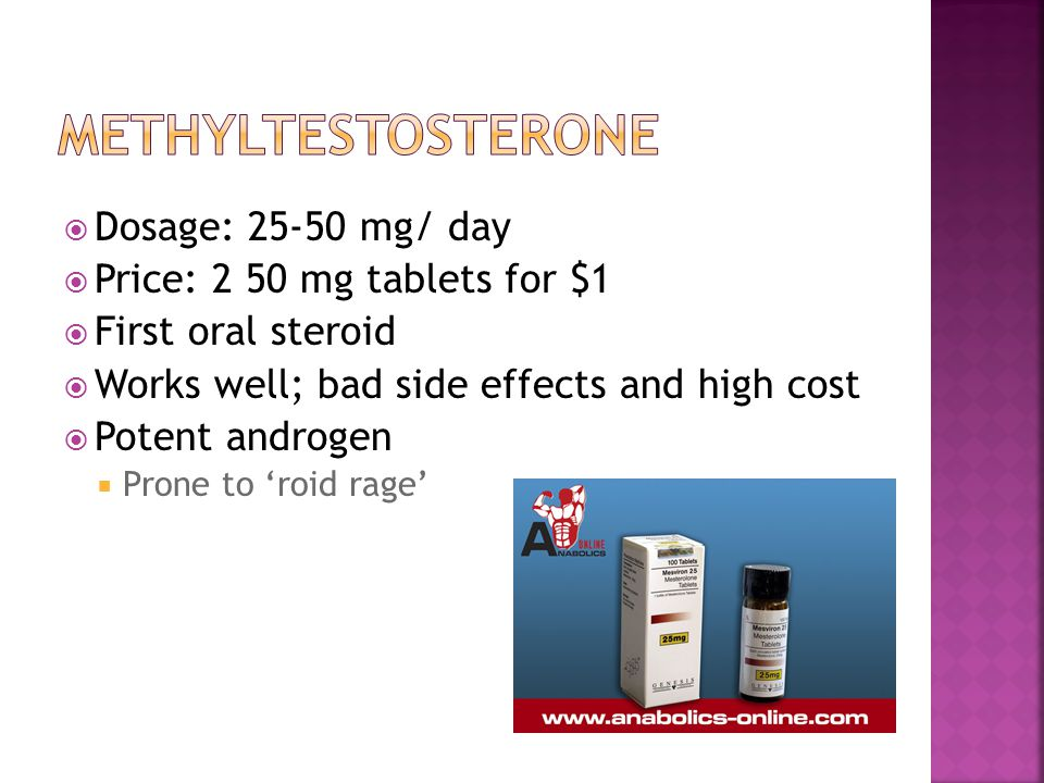  Dosage: 25-50 mg/ day  Price: 2 50 mg tablets for $1  First oral steroid  Works well; bad side effects and high cost  Potent androgen  Prone to 'roid rage'