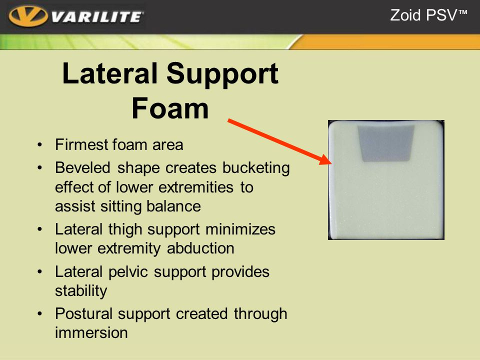 Lateral Support Foam Firmest foam area Beveled shape creates bucketing effect of lower extremities to assist sitting balance Lateral thigh support minimizes lower extremity abduction Lateral pelvic support provides stability Postural support created through immersion Zoid PSV ™