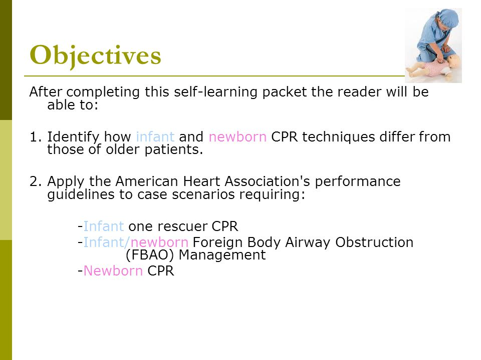 Steps for Infant CPR for Support Staff 4.4.