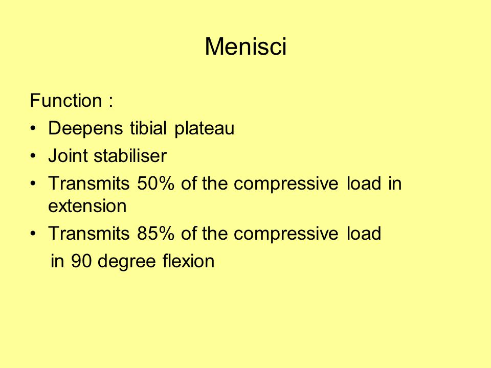 Menisci Function : Deepens tibial plateau Joint stabiliser Transmits 50% of the compressive load in extension Transmits 85% of the compressive load in 90 degree flexion