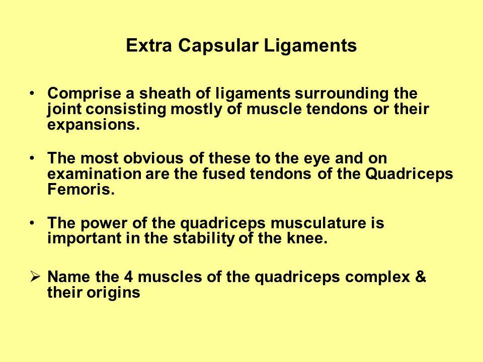 Extra Capsular Ligaments Comprise a sheath of ligaments surrounding the joint consisting mostly of muscle tendons or their expansions.