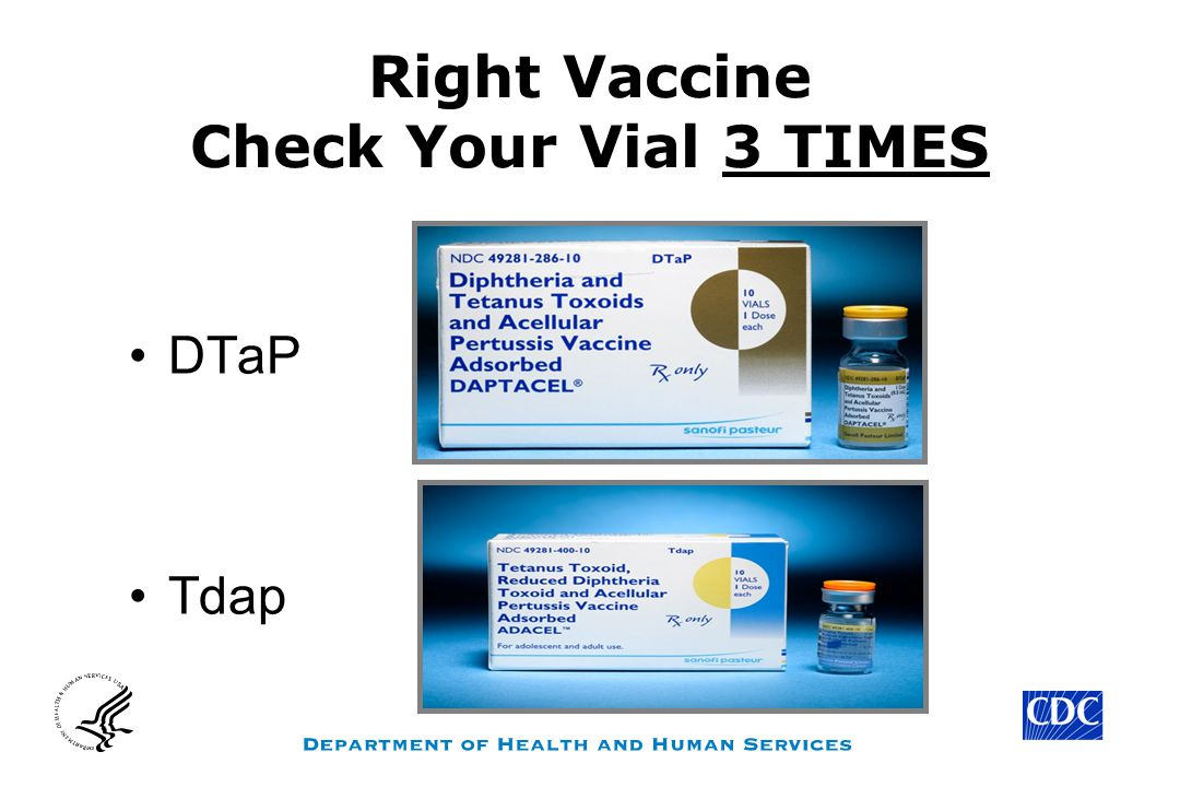 Right Vaccine Check Your Vial 3 TIMES DTaP Tdap