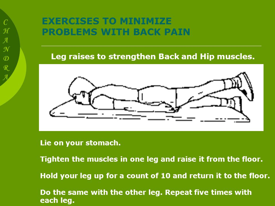 EXERCISES TO MINIMIZE PROBLEMS WITH BACK PAIN Wall slides to strengthen Back, Hip, and Leg Muscles Stand with your back against a wall and feet shoulder-width apart.