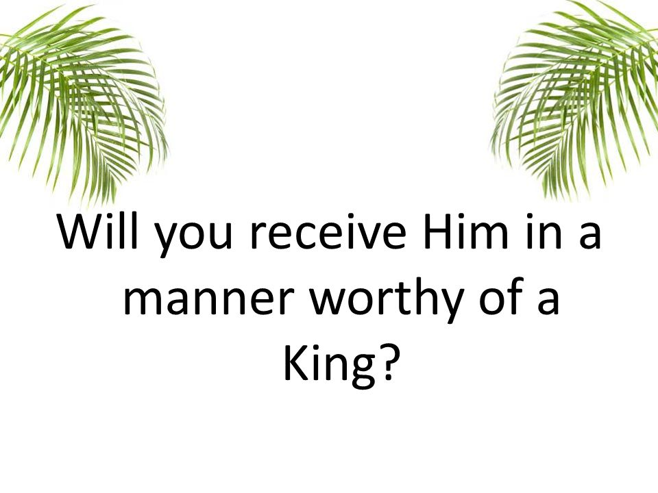 Will you receive Him in a manner worthy of a King