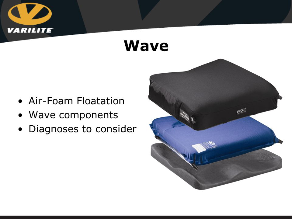 Wave For clients requiring a high level of pelvic and lower extremity positioning Enhances the multi- stiffness foam of the Evolution™ Enhances the dual chambered positioning of the Meridian™