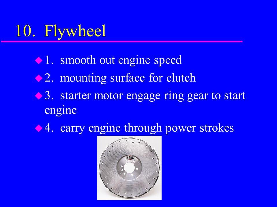 9. Harmonic Balancer or Vibration Damper u Helps absorb torsional vibration of crankshaft and smooth out firing pressure of each cylinder, 2 pieces wi