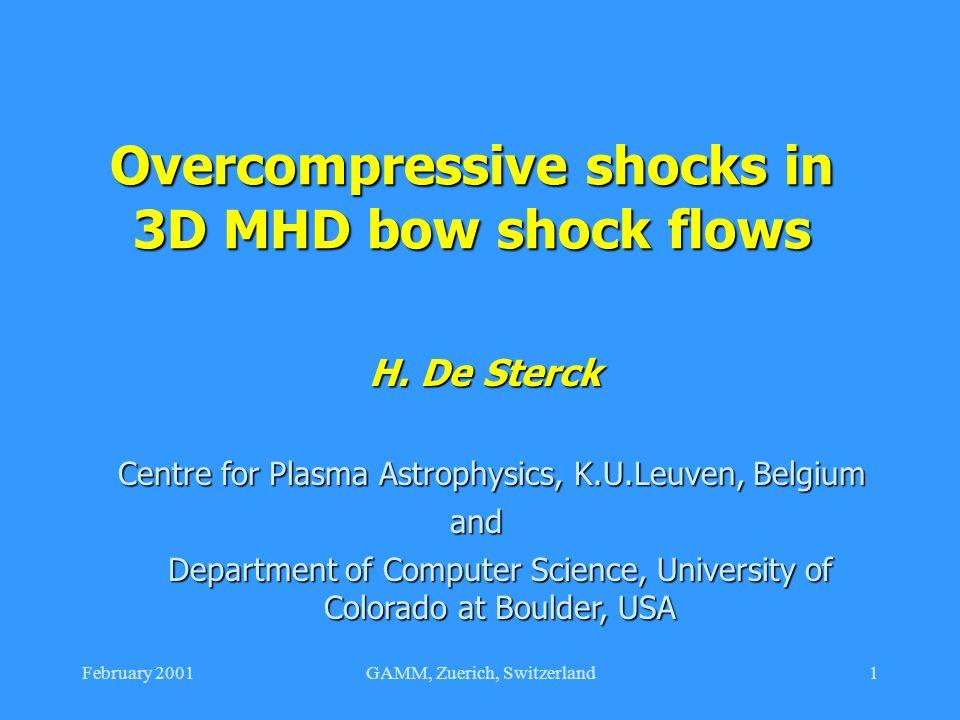 February 2001GAMM, Zuerich, Switzerland1 Overcompressive shocks in 3D MHD bow shock flows H. De Sterck Centre for Plasma Astrophysics, K.U.Leuven, Bel