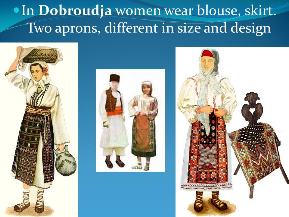 Women wear dress, 1 apron, very ornate metallic buckles, colorful socks Romanians in Balkans
