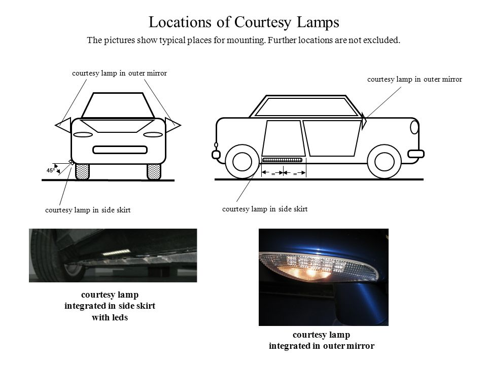Locations of Courtesy Lamps The pictures show typical places for mounting.