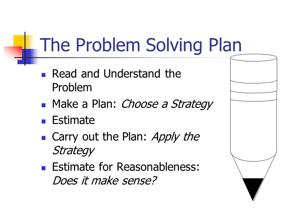 Problem Solving The Problem Solving Plan & Problem Solving Strategies