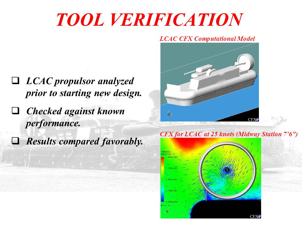 TOOL VERIFICATION  LCAC propulsor analyzed prior to starting new design.  Checked against known performance.  Results compared favorably. LCAC CFX
