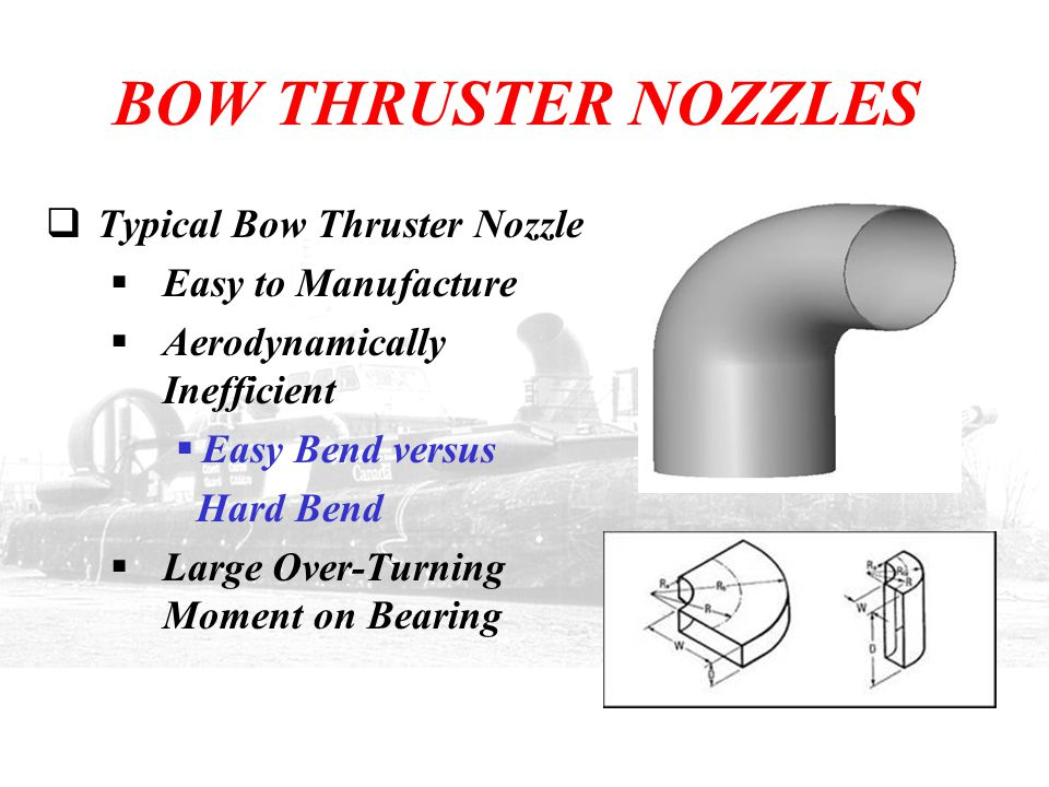 BOW THRUSTER NOZZLES  Typical Bow Thruster Nozzle  Easy to Manufacture  Aerodynamically Inefficient  Easy Bend versus Hard Bend  Large Over-Turni