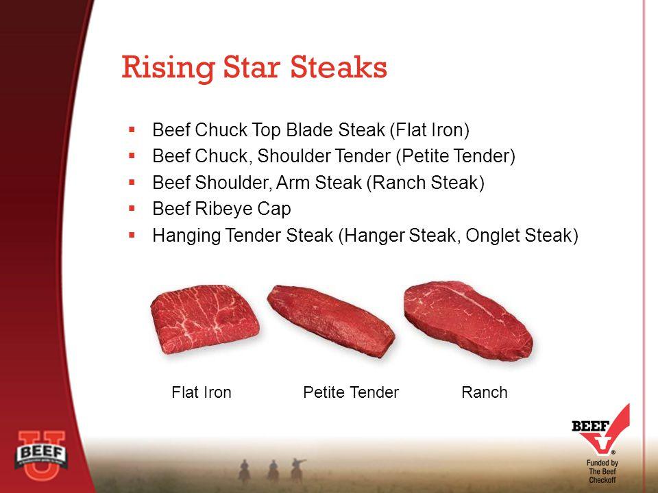  Beef Chuck Top Blade Steak (Flat Iron)  Beef Chuck, Shoulder Tender (Petite Tender)  Beef Shoulder, Arm Steak (Ranch Steak)  Beef Ribeye Cap  Hanging Tender Steak (Hanger Steak, Onglet Steak) Rising Star Steaks Flat IronPetite TenderRanch