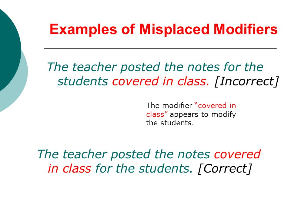 Examples of Misplaced Modifiers The teacher posted the notes for the students covered in class.